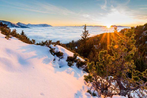 Coucher de soleil hivernal sur la chaîne de Belledonne