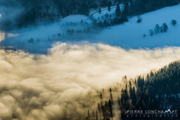 Mer de nuages hivernale dans les forêts du Vercors