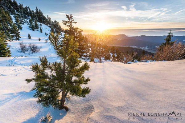 Coucher de soleil hivernal sur le Vercors
