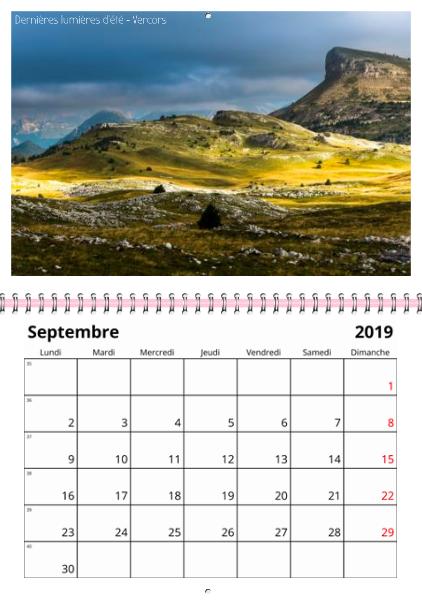 septembre 2019 calendrier alpes