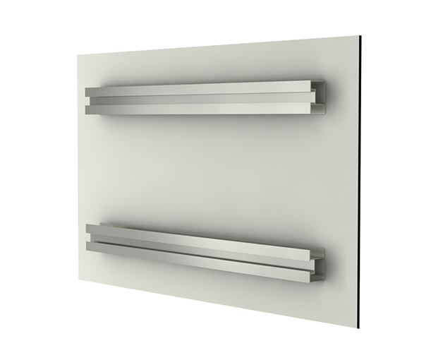 Détail des barres en aluminium sur plaque en Alu-Dibond