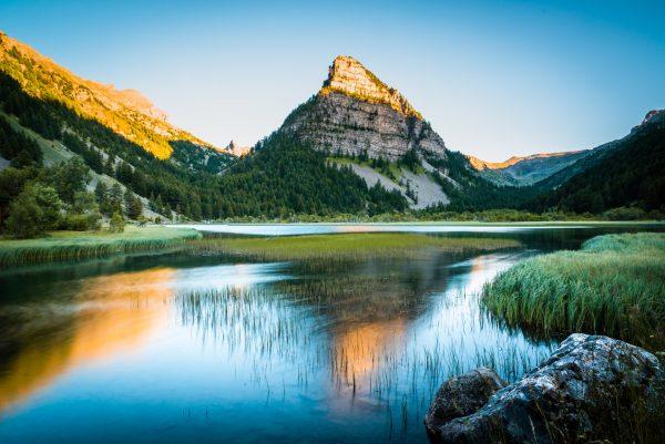 Coucher de soleil sur le lac des Sagnes