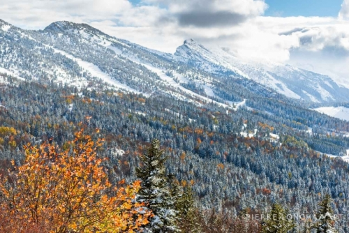 Couleurs automne et neige dans le Vercors.